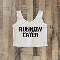 Run Now Wine Later Shirt Sporty Crop Top Yoga Top Tank Top Midriff Mid Driff Belly Shirt – Size S M