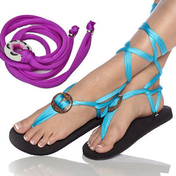 Handmade Greek sandal or flip flop with interchangeable straps and also barefoot sandal