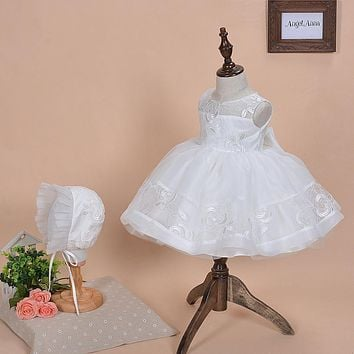 New 2016 Baby Girls Christening Gowns tutu Dress Newborn Flower Girl Dresses Infant Princess Girls' Party Lace Dress for Wedding