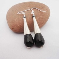 Obsidian Earrings, Long Obsidian Earrings, Teardrops Obsidian Earrings, Black