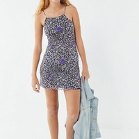 UO Louisa Printed Mesh Tie-Back Mini Dress | Urban Outfitters
