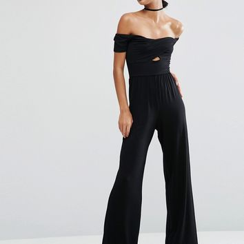 ASOS Jersey Jumpsuit with Wrap Bardot and Twist with Wide Leg