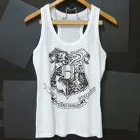 Harry Potter tank top Hogwarts Alumni school Witchcraft Wizardry Women shirts teen Tank top size S,M singlet crop top shirt ladies blouse