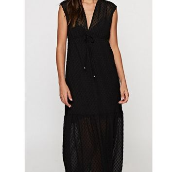 BLACK SWISS DOT MAXI DRESS - LOVESTITCH