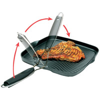 """Starfrit 10"""" X 10"""" Grill Pan With Foldable Handle"""