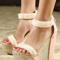 Pink Pearl Open-toed Platform Sandals from magisteriall