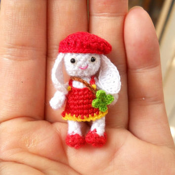 Bunny Rabbit Girl - Amigurumi Crochet Tiny Stuffed Animal - Made To Order