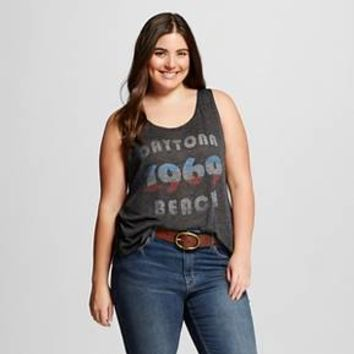 Women's Plus Daytona Beach 1969 Graphic Racerback Tank Charcoal Grey - L.O.L. Vintage : Target