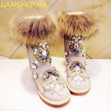 2017 Bohemia Rhinestone Snow Boots Furry Woman Warm Casual Flats Women Fox Fur Winter Boots Diamonds Genuine Leather Shoes Woman