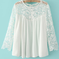 Fall White Hollow-Out Chiffon Long Sleeve Blouse * free shipping *