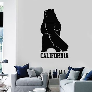 Vinyl Wall Decal California Map State Grizzly Bear Symbol Art Decor Stickers Mural (ig5245)