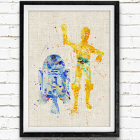 Star Wars R2-D2 and C-3PO Watercolor Art Print, Robot Art Print, Watercolor Poster, Watercolor Home Decor, Not Framed, Buy 2 Get 1 Free!