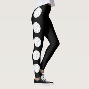 Black and White Volleyball Leggings