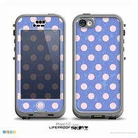 The Vintage Scratched Pink & Purple Polka Dots Skin for the iPhone 5c nüüd LifeProof Case