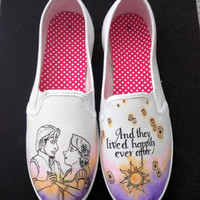 Disneys Tangled Rapunzel and Flynn Ryder custom wedding happily ever after hand painted shoes