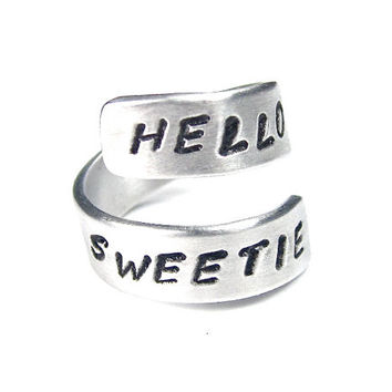 HELLO SWEETIE - Dr. Who Ring, hand stamped ring, geek jewelry, time lord, aluminum ring,