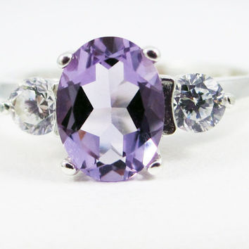 Oval Lavender Amethyst and CZ Accent Ring, 925 Sterling Silver, February Birthstone Ring, Oval Lavender Amethyst Ring