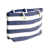 Banded Stripe Large Beach Town Tote Bag - Navy / Natural