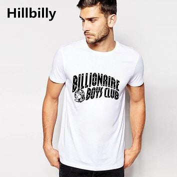Hillbilly Letter Print Billionaire Boys Club T-shirt for Men Slim Fit Brand Clothes 2016 White Cotton T Shirt Men's Tops & Tees
