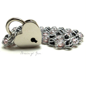 Locking Day Collar Pink and Black Captive Pearls with Heart Shaped Padlock