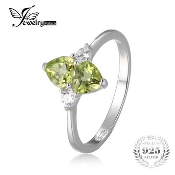 JewelryPalace Love Heart 1.1ct Genuine Peridot Cluster Ring For Woman Solid 925 Sterling Silver Jewelry Engagement Wedding Ring