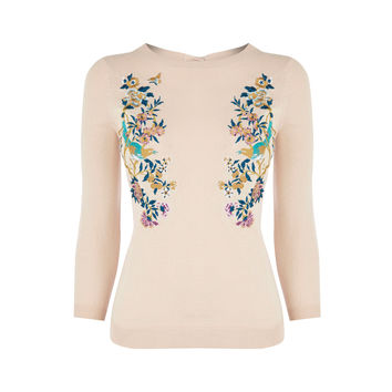 V&A EMBROIDERED JUMPER - PALE PINK