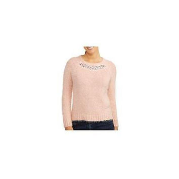 George Women's Scoop Neck Jewel Embellished Sweater, Pink Blush, 6