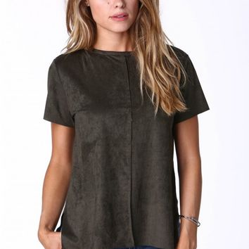 Sandra Short Sleeve Suede Top