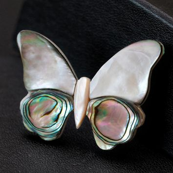 Kawaii Cute Natural Shell Butterfly Brooches For Women And Men Elegant Butterfly Insects Banquet