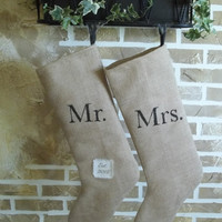 Vintage French Chic - Mr & Mrs. Christmas Stocking with Est. Date