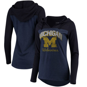 Michigan Wolverines Women's Knockout Colorblock Hooded Long Sleeve T-Shirt - Navy