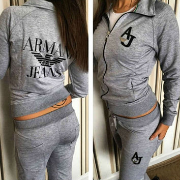 Armani Fashion Zipper Sport Gym Set Two-Piece Top Pants Sportswear