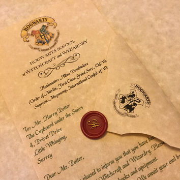 Personalized Hogwarts Acceptance Letter   Personalized Harry Potter Letter    Hogwarts Letter   Wizarding Mail