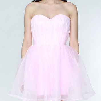 Bubblegum Pink Organza Strapless Dress