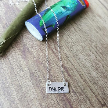 dope sterling silver medium bar necklace, 420 jewelry, marijuana jewelry, stoner jewelry pot leaf stamped necklace handmade by the toke shop