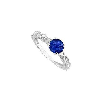 Diffuse Sapphire and Cubic Zirconia Engagement Ring .925 Sterling Silver 0.60 CT TGW