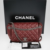 Authentic CHANEL Burgundy Quilted Calfskin Leather Accordion Flap Bag