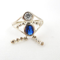 Vintage Sterling Silver Sapphire Blue and White Glass Ring Size 6.5