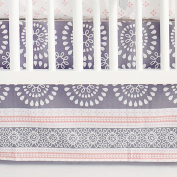 Harper in Coral Baby Bedding | Gray and Coral Crib Skirt