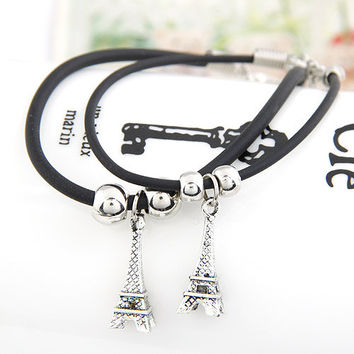 Classic Eiffel Tower Leather  Couple Bracelet, Lovers' Accessory, Street Style Jewelry, Party Jewelry, Birthday Gift 110527101