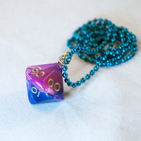 Pink and Purple Dice Pendant - D10 Gamer Jewelry