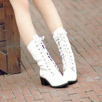 Mid-calf Spring Autumn Lace-up Cuban Square Heel Martins Punk Cotton-padded Round Toe Adult Rubber Fashion Ladies Boots Pu
