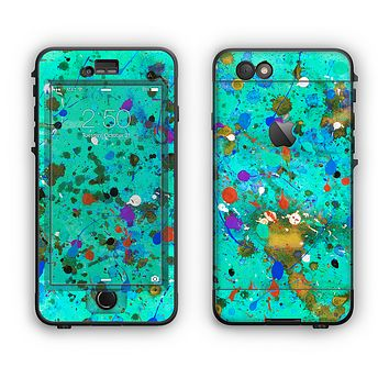 The Trendy Green with Splattered Paint Droplets Apple iPhone 6 Plus LifeProof Nuud Case Skin Set