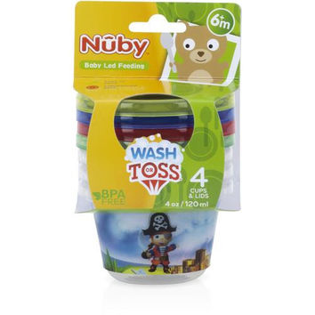 Nuby Wash or Toss 4 oz. Snack Cups with Lids (4 Pack)