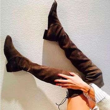 Hot Deal On Sale Winter Skinny Stretch High Heel Suede Ladies Boots [11203296263]