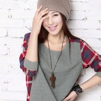 $ 11.79 Ericdress Round Neck Long Sleeve Plaid T-shirt