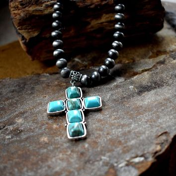 Turquoise Cross Navajo Beaded Necklace