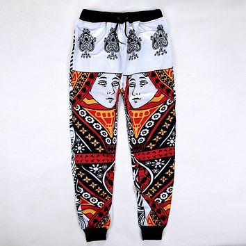 New Fashion Joggers Pants 3D Graphic Printed Funny Poker Spade Queen Casual Sweatpants for mens/womens Hip Hop style Trousers