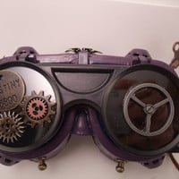Steampunk Goggles.  Purple goggles decorated with Steampunk elements!