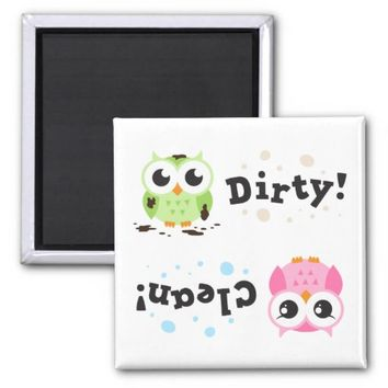 Clean dirty dishwasher magnet with little owls